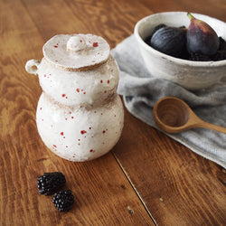 One-of-a-kind Hand Made Ceramic Jar with Lid - Red Dots