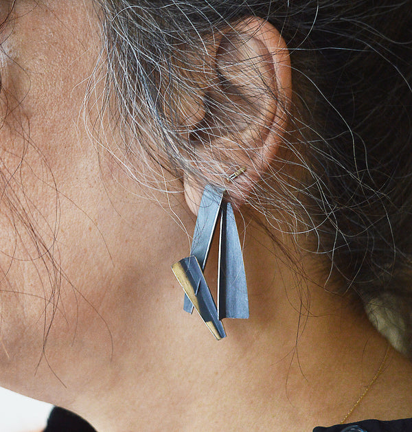 Triple Folded Post Earrings