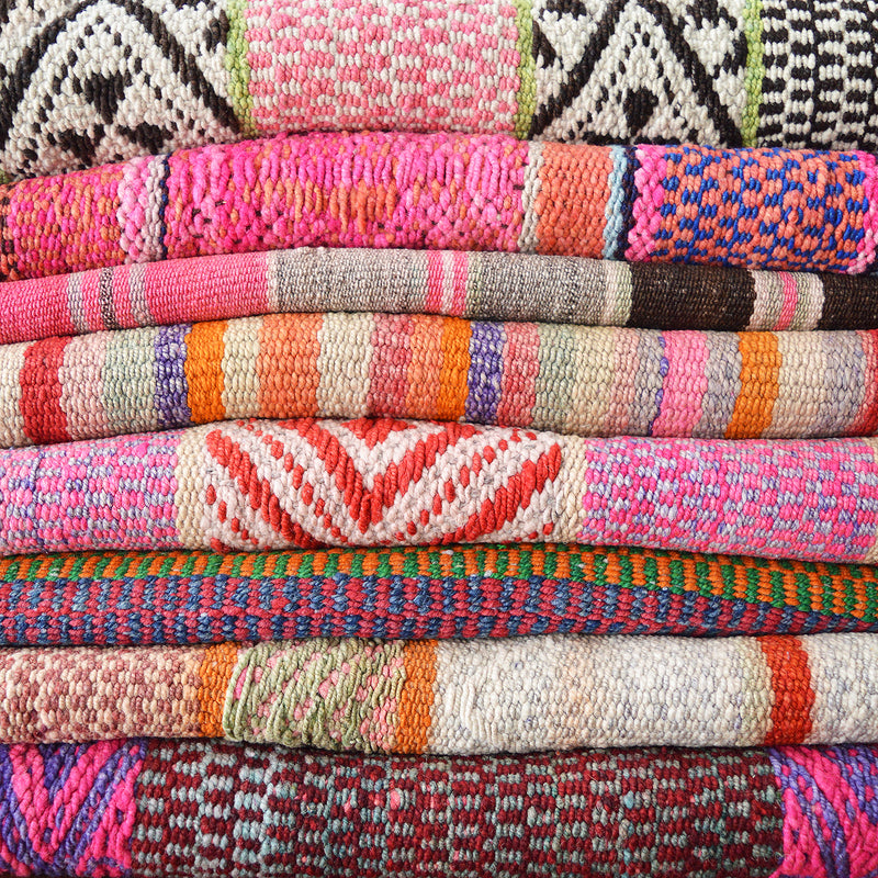 Vintage Peruvian rug, textile, frazada made on back looms in the Andes mountains in Peru, by indigenous Quechua craftsmen/women - and passed on for generations. They can be used as rugs, heavy blankets or wall hanging and will add warmth and color to any room.