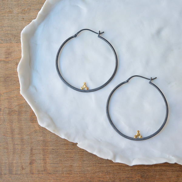 Balancing Act - Hoop Earrings - Sterling Silver and 18K Yellow Gold