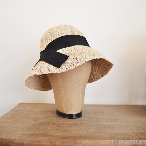 Maison NH Paris Nolah  Sun Hat - Natural with Black Ribbon