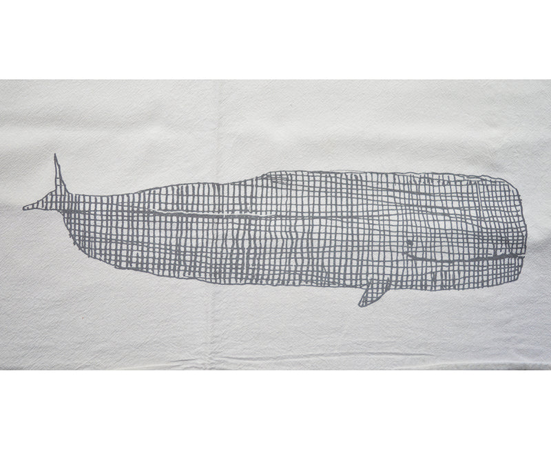 Whale Flour Sack tea towel A Wink Design