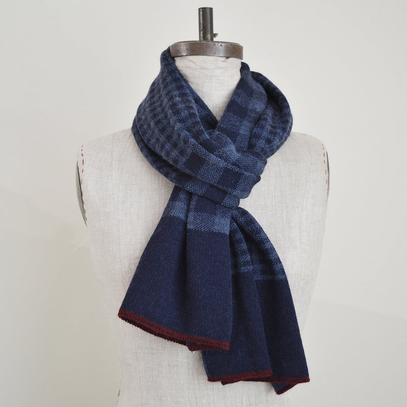 Paris West  alpaca knit scarf features 2 sizes of gingham checks.  ethically-sourced Peruvian fiber, and finished by hand in Brooklyn.