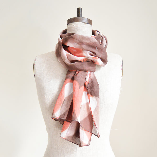 Light and soft cotton voile scarf, clamp dyed with natural dyes. Made in India.