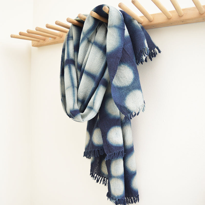 Our collection of indigo throws feature 100% wool khadi (homespun yarn and handwoven), in deep hand dyed shades of indigo in a variety of gorgeous patterns.