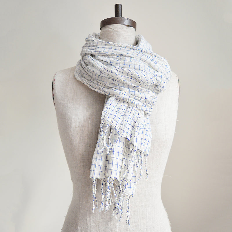 Blue and White Khadi Cotton Scarf