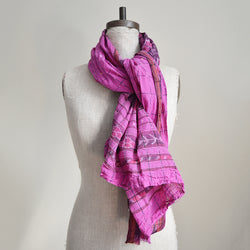 Magenta Cotton Sari Scarf