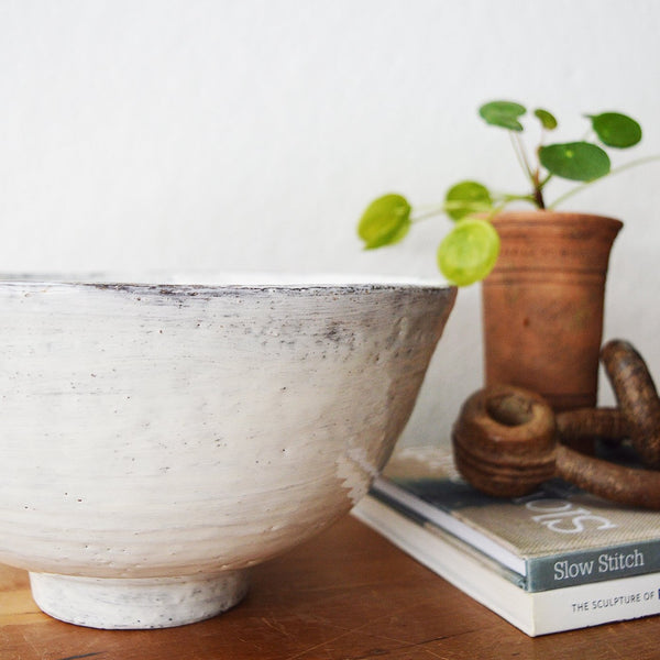 Large salad bowl by Florence Penault. Great for a big salad or to display fruit.   The finish is reminiscent of the Korean Buncheong style, which dates back to the 14th century.