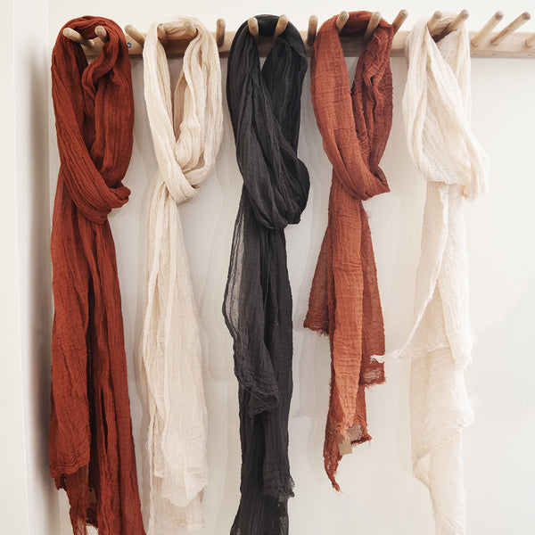 Hand-dyed cotton summer scarf in earth-tones and sprint-tones, lightweight in hand-dyed saturated colors