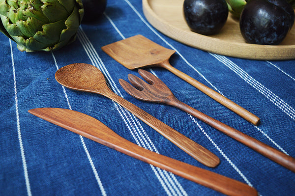 wooden handmade cheese utensil set walnut four-piece cheese knife set