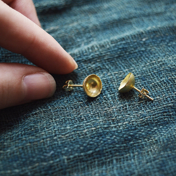 Timeless little bowl stud earrings in 18K gold, by San Francisco artist Siedra Loeffler.