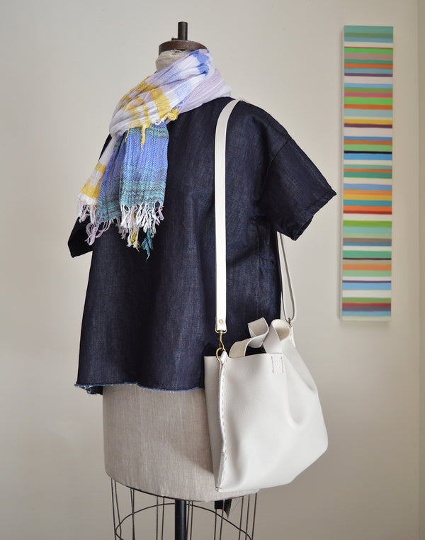 Stitch and Tickle medium size tote handmade of buttery soft, medium weight  leather with a light pebble finish - crossbody strap