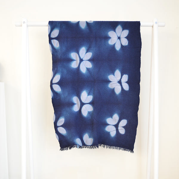 Wool Khadi Throw - Floral Pattern