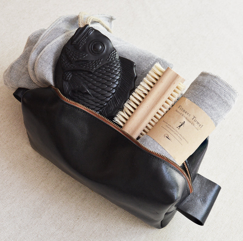 Father's day gift set. Leather Dopp Kit, Japanese Fish Soap on a rope, fitness towel, perfect for the dad who loves to go the gym