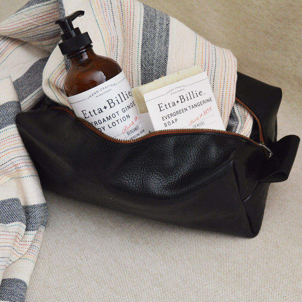 Large handmade Italian leather dopp kit, Etta and Billie body lotion and soap, Turkish Cotton towel. Father's day gift set