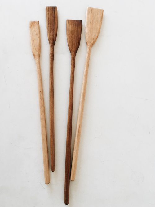 Hand carved wood spatulas from Two Tree Studio. Wood spoons. Wood kitchen utensils handmade.  Made in Brooklyn, NY