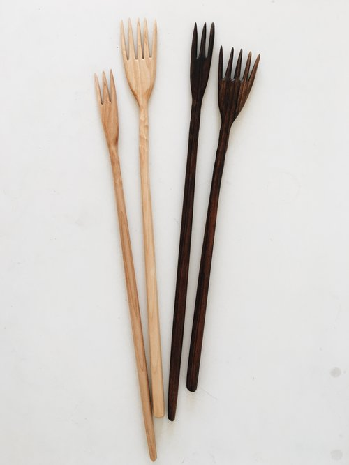 Hand carved wood forks from Two Tree Studio. Wood kitchen utensils handmade in Brooklyn NY.  Wedding Gifts, Housewarming gift.