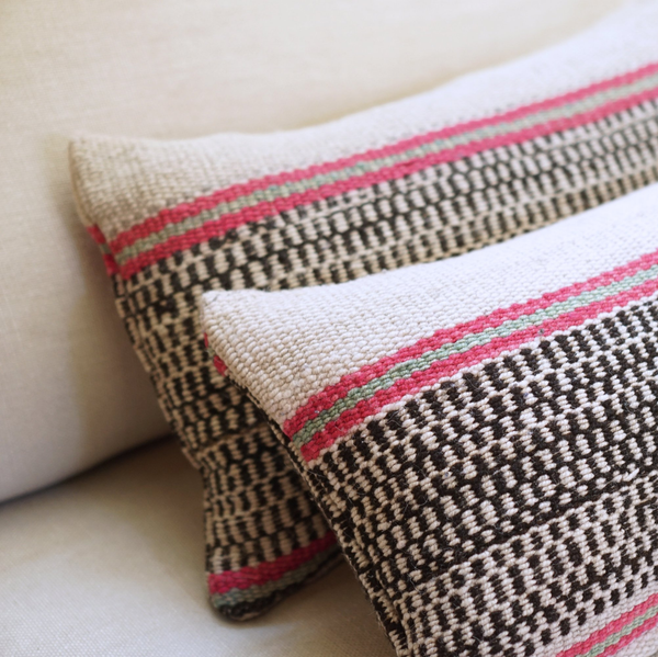 Vintage Peruvian Wool Pillow - Basketweave