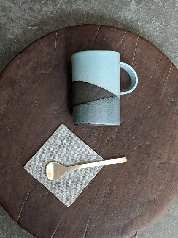 Tea or coffee lover  care package or gift set includes a handmade mug, small brass spoon and linen coaster
