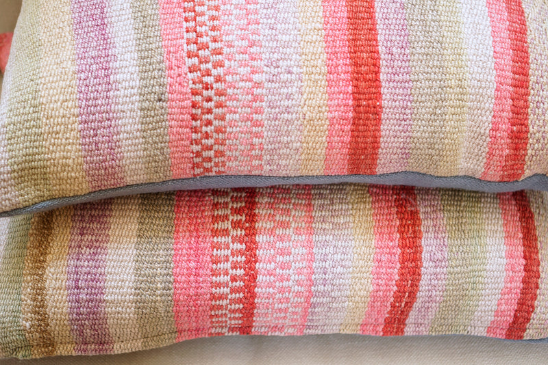 Vintage Peruvian Wool Pillow - Multi Stripes