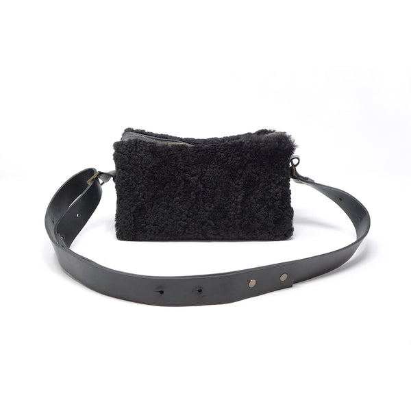 Opera shearling shoulder bag. shearling purse shearling pocketbook Stitch and Tickle made in boston