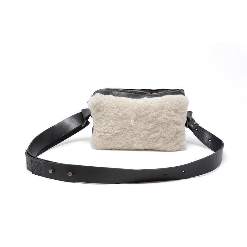 shoulder or hip bag, shearling and leather, adjustable strap