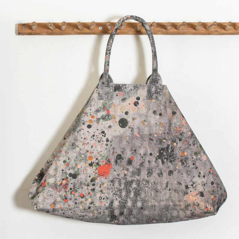 Martyn Thompson oversized canvas tote bag with a splattered dropcloth printed design. Carryall,  extra large totebag. Beach Bag.