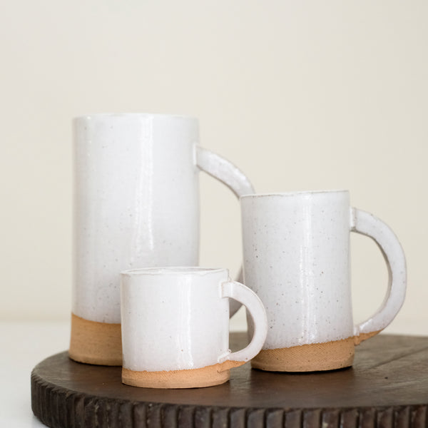 White ceramic mugs by Alison Owen. Made in Brooklyn, NY