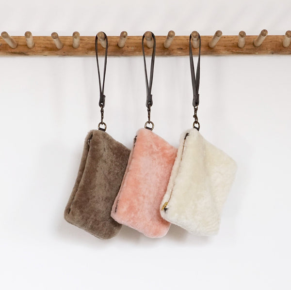 Tolbiac - Shearling Wristlet Bag - Mushroom, Natural or Rose