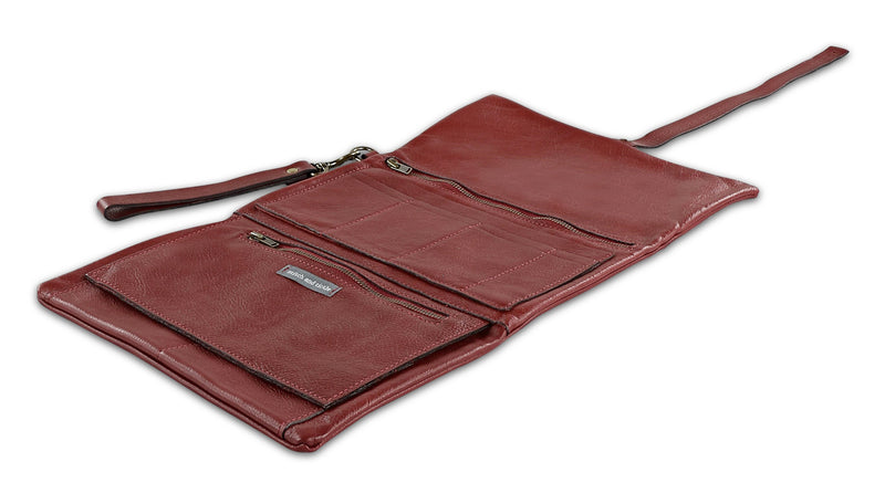 Sale - The Traveler - Oversized Italian Leather Wallet with Removable Strap - Oxblood