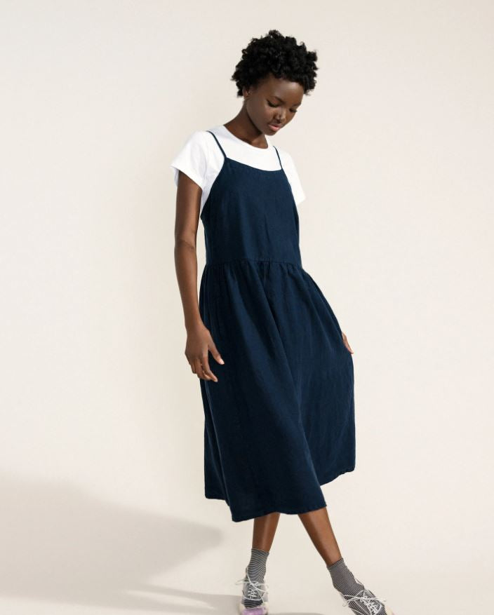 Linen Sundress - Navy
