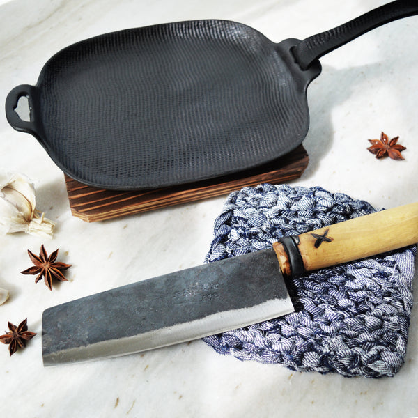 Father's day gift set for the Chef; Japanese Oigen cast iron pan, Korean handcrafted kitchen vegetable knife , handknit linen trivet