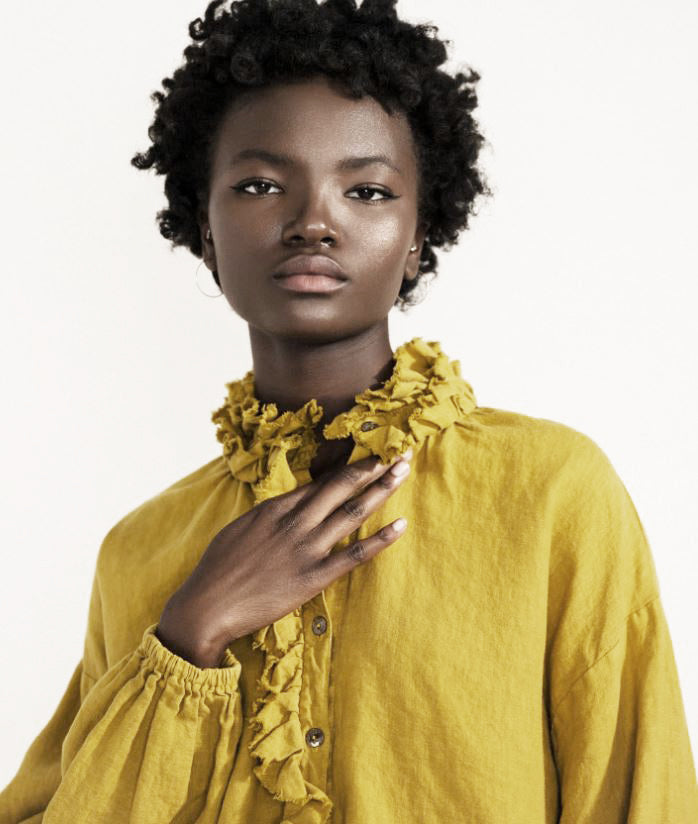 Linen Top with Ruffle - Citron