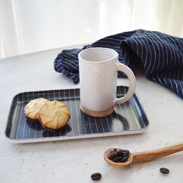 coffee lover gift set. Handmade ceramic coffee cup made in Brooklyn. Japanese Fog Linen Tray. Father's day gift.