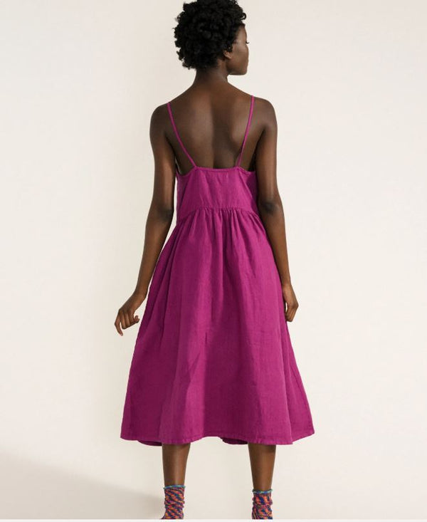 Linen Sundress - Magenta