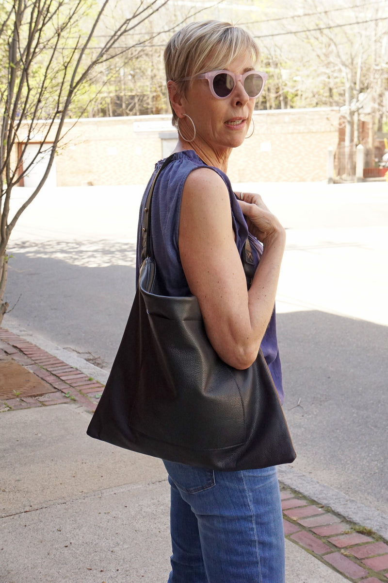 Bel Air - Large Leather  Carryall Messenger Bag - Black and Distressed Black