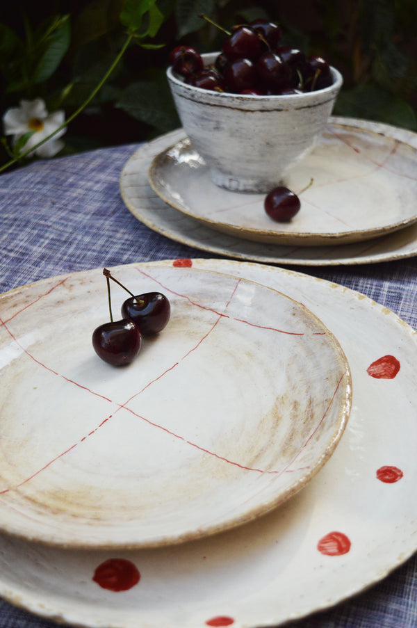 "Handmade 11"" Ceramic Plate - Red on White"