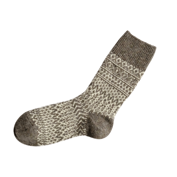 Nishiguchi Kutsuhshita Oslo wool jacquard sock for men and women. Nishiguchi Kutsuhshita made these wool jacquard socks almost completely shrink proof.