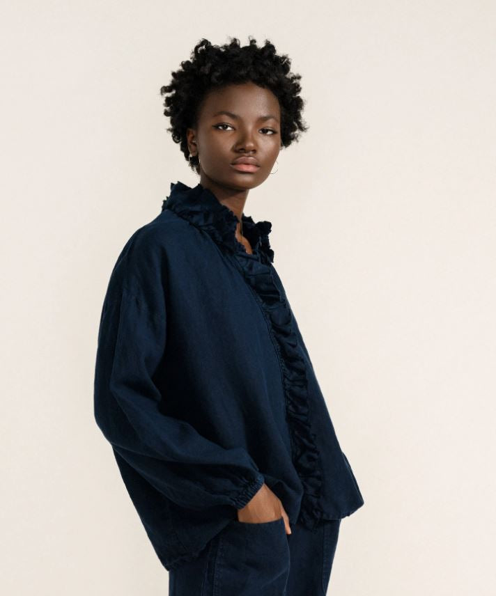 Linen Top with Ruffle - Navy