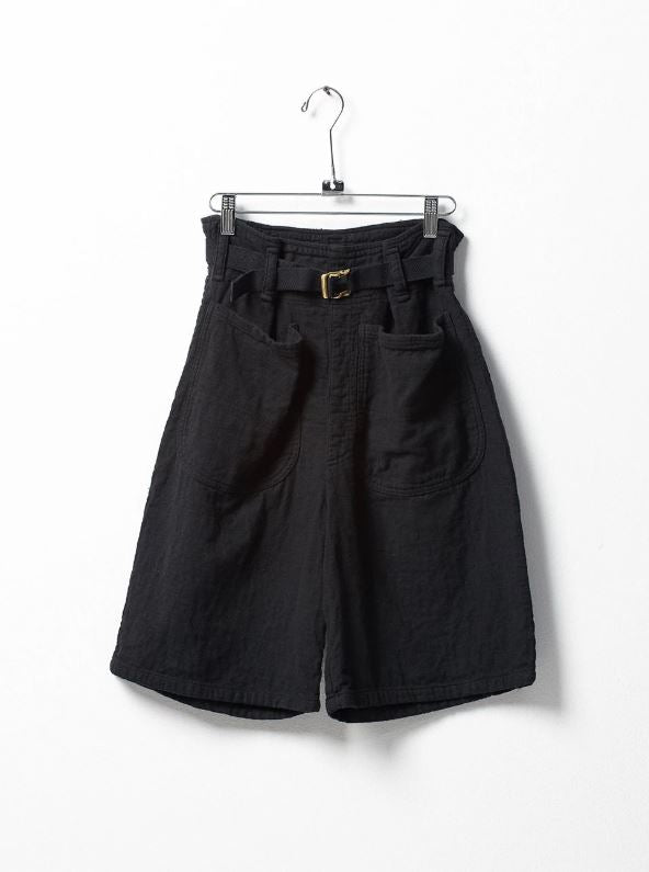 Belted Cotton Shorts with Front Pockets - Black