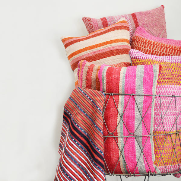 Made of vintage Peruvian blankets, these 100% wool pillows will add a pop of color to your living room. Buy a pair or mix and match for an eclectic touch. Each pillow is unique as it is cut from a vintage, handwoven blanket.  Organic d