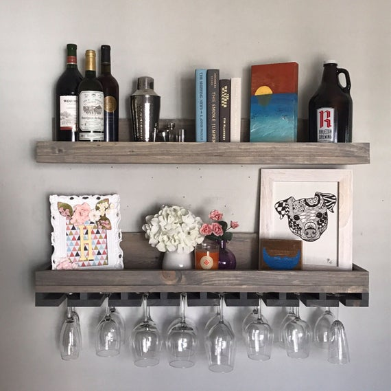 Wood Wine Rack Shelves | Wall Mounted Shelf & Hanging Stemware Glass Holder Organizer Bar Shelf Floating Ledge Unique Rustic Bar Shelving by DistressedMeNot