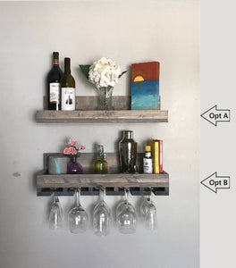 Wood Wall Mounted Wine Rack Shelf & Glass Holder Organizer Floating Ledge Unique Rustic Bar Shelves Grey by DistressedMeNot