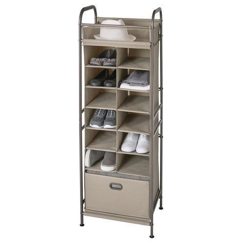 Vertical 12-Cubby Shoe Storage Organizer with Drawer - Style 5123