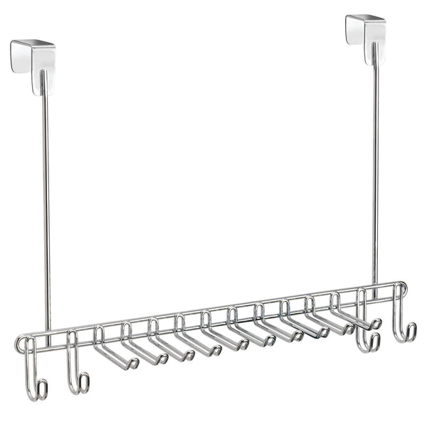 mDesign Metal Over Door Hanging Closet Storage Organizer Rack for Men's and Women's Ties, Belts, Slim Scarves, Accessories, Jewelry - 4 Hooks and 10 Vertical Arms on Each - 2 Pack - Chrome