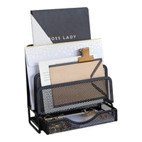 Blu Monaco Office Cubicle Accessories – Small Black Wire Mesh Desk Organizer Letter Sorter with Pencil Tray Accessory Drawer – Desk Caddy Organizer