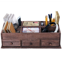 Rustic Wooden Desk Organizer and Storage for Home or Office Makeup