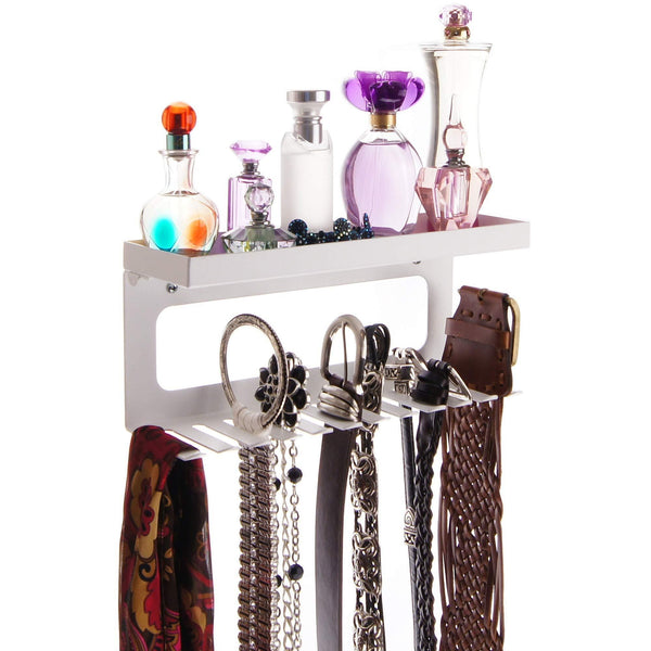Angelynn's Belt Holder Organizer Hanger Wall Mount Hanging Closet Storage Rack Women's & Men's Valet Shelf, Arinn White