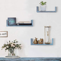 Comfify Rustic Wall Mounted U-Shaped Floating Shelves – Set of 3