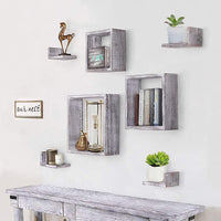 Comfify Rustic Wall Mounted Square Shaped Floating Shelves – Set of 7